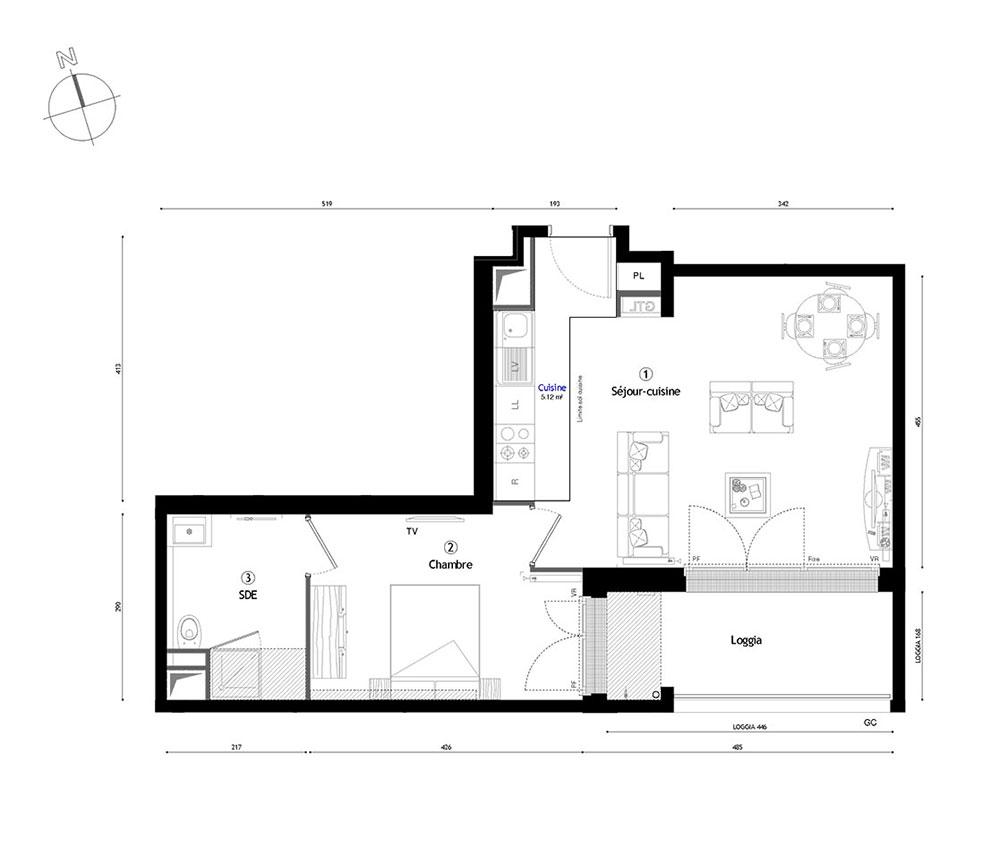 appartement n 2154 vill arborea t2 de m lyon 7 me arrondissement. Black Bedroom Furniture Sets. Home Design Ideas
