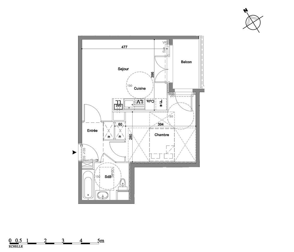 appartement n 1309 les jardins d eug nie t2 de m ferri res en brie. Black Bedroom Furniture Sets. Home Design Ideas