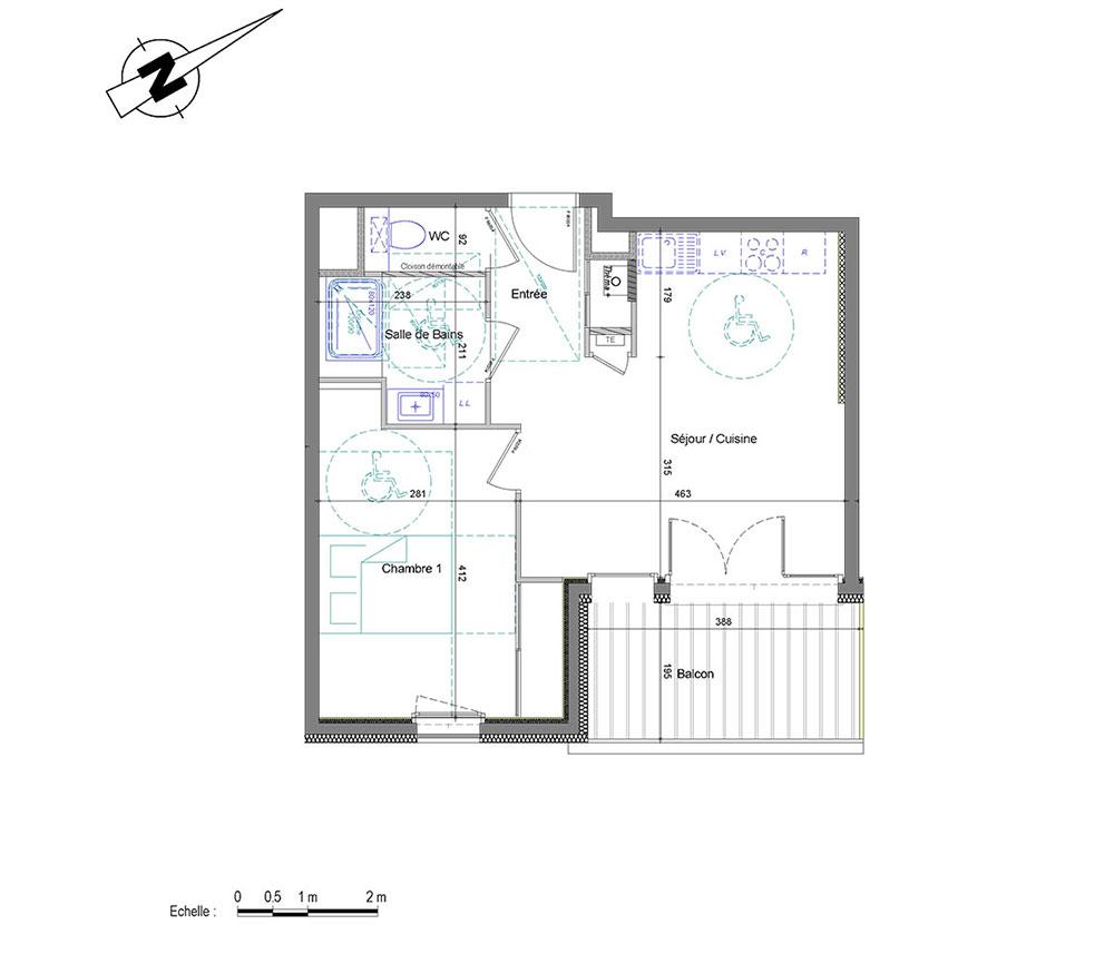 appartement n 01a404 d clic t2 de m annemasse. Black Bedroom Furniture Sets. Home Design Ideas