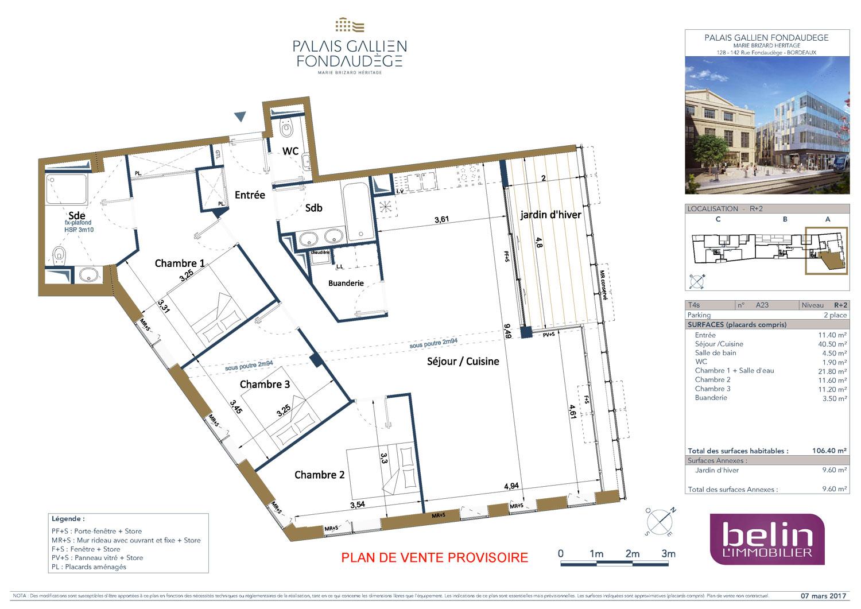 Appartement n a23 le palais gallien fondaudege tr1 t4 de for Appartement neuf bordeaux centre ville