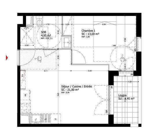 Appartement n 010a13 soprano t2 de m bobigny for Chambre 13 bobigny