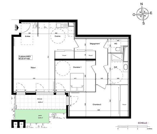 appartement n 01a003 south garden t3 de m ch tillon. Black Bedroom Furniture Sets. Home Design Ideas