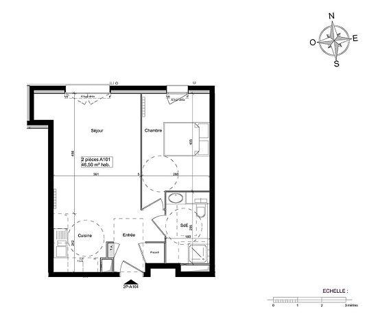 appartement n 01a101 south garden t2 de m ch tillon. Black Bedroom Furniture Sets. Home Design Ideas