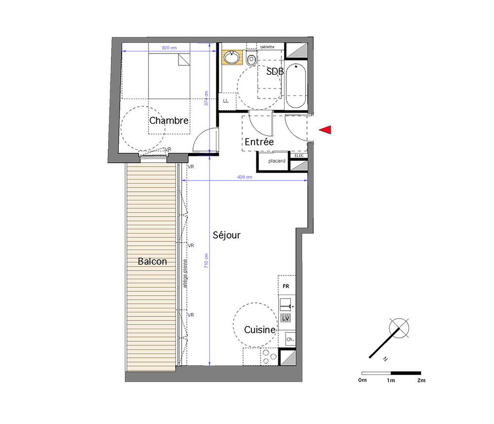 Appartement n 303 h ritage saint michel t2 de m for Appartement bordeaux st michel