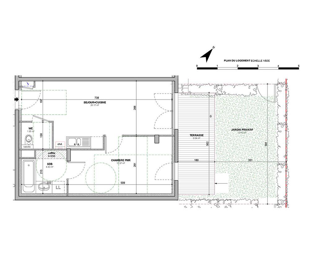 appartement n a04 comme au fil de l eau t2 de m lyon 9 me arrondissement. Black Bedroom Furniture Sets. Home Design Ideas