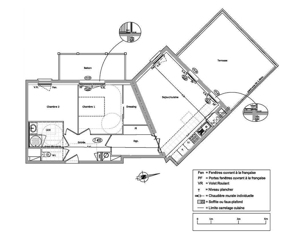 Appartement n°F403 Résidence Les Cavaliers : T2 de 44.31 m² à Cabourg