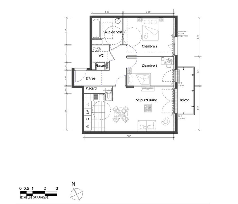 Appartement n°2031 Lumi´r : T3 de 63.90 m² à Rouen