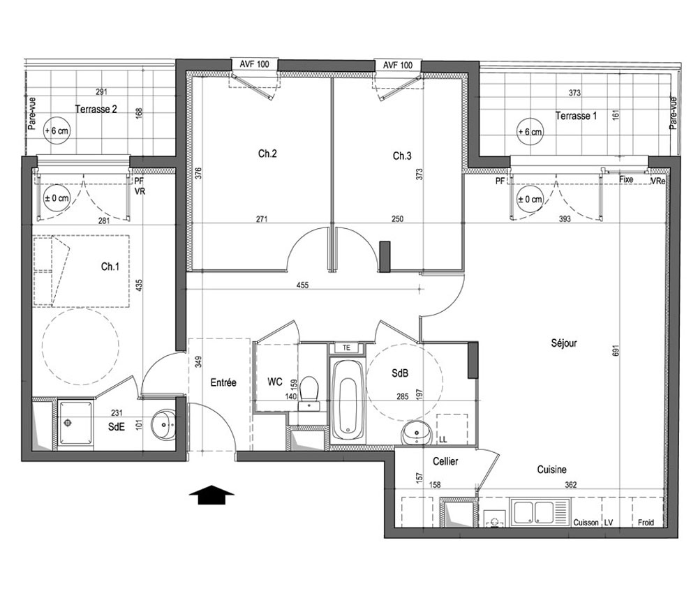 Plan dappartement t4 joy studio design gallery best design - Plan maison avec appartement ...