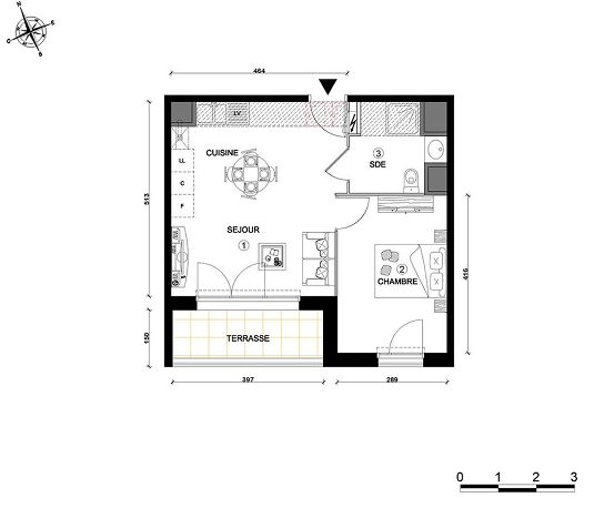appartement n 15 cap royan t2 de m royan. Black Bedroom Furniture Sets. Home Design Ideas