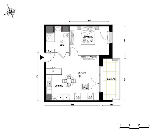 appartement n 33 cap royan t2 de m royan. Black Bedroom Furniture Sets. Home Design Ideas