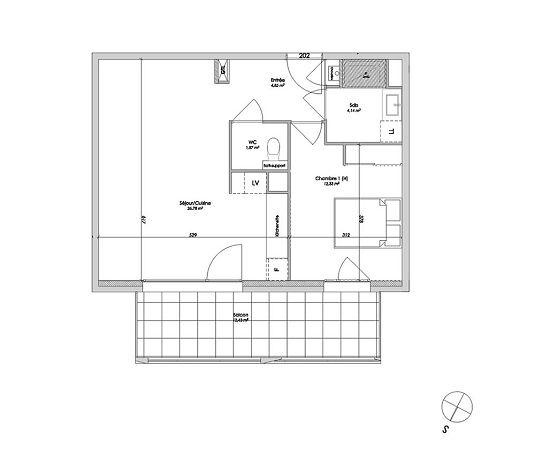 appartement n 010202 uni vert7 t2 de m lyon 7 me arrondissement. Black Bedroom Furniture Sets. Home Design Ideas