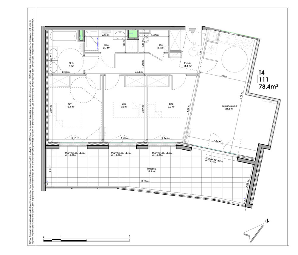 appartement n l111 les jardins de la tiretaine t4 de m chamali res. Black Bedroom Furniture Sets. Home Design Ideas