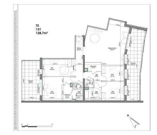 appartement n l131 les jardins de la tiretaine t5 de m chamali res. Black Bedroom Furniture Sets. Home Design Ideas