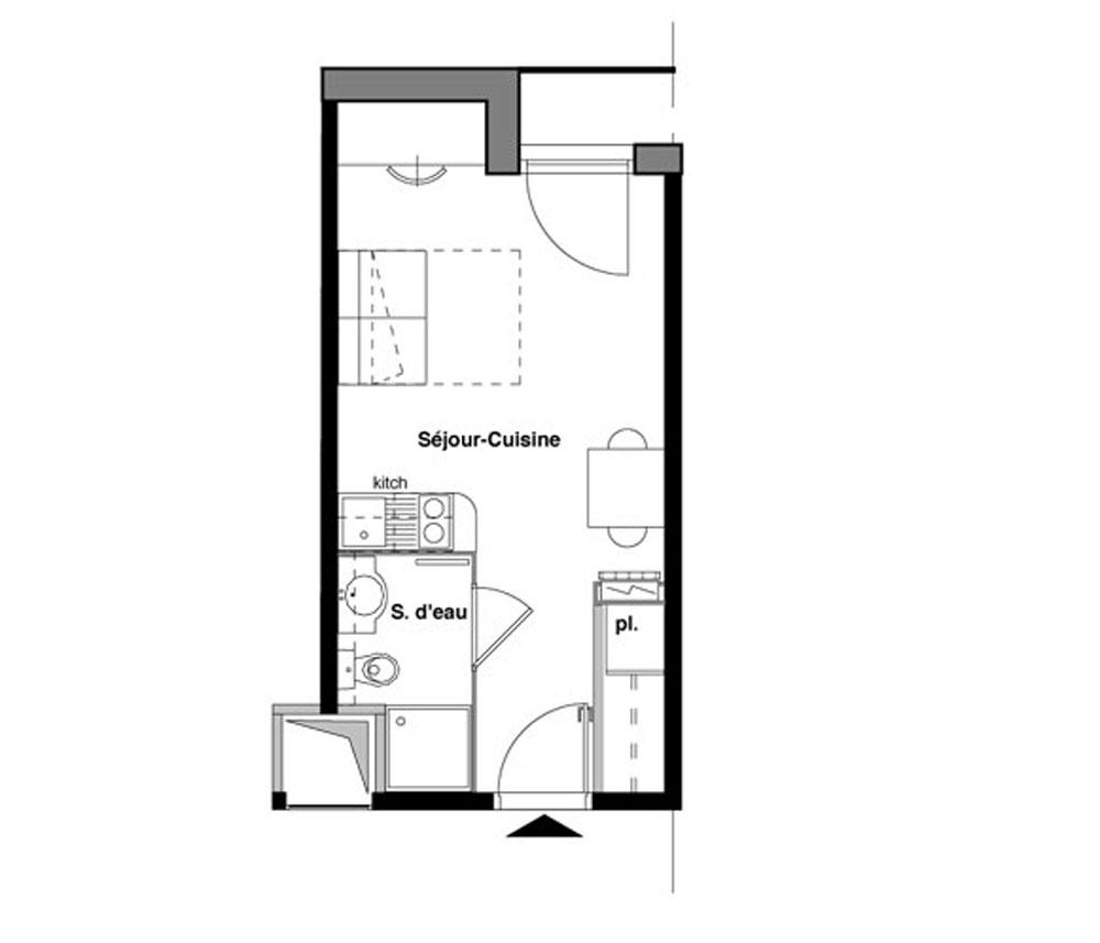 Appartement n 107 t n o t1 de m bordeaux maritime for Appartement t1 bordeaux