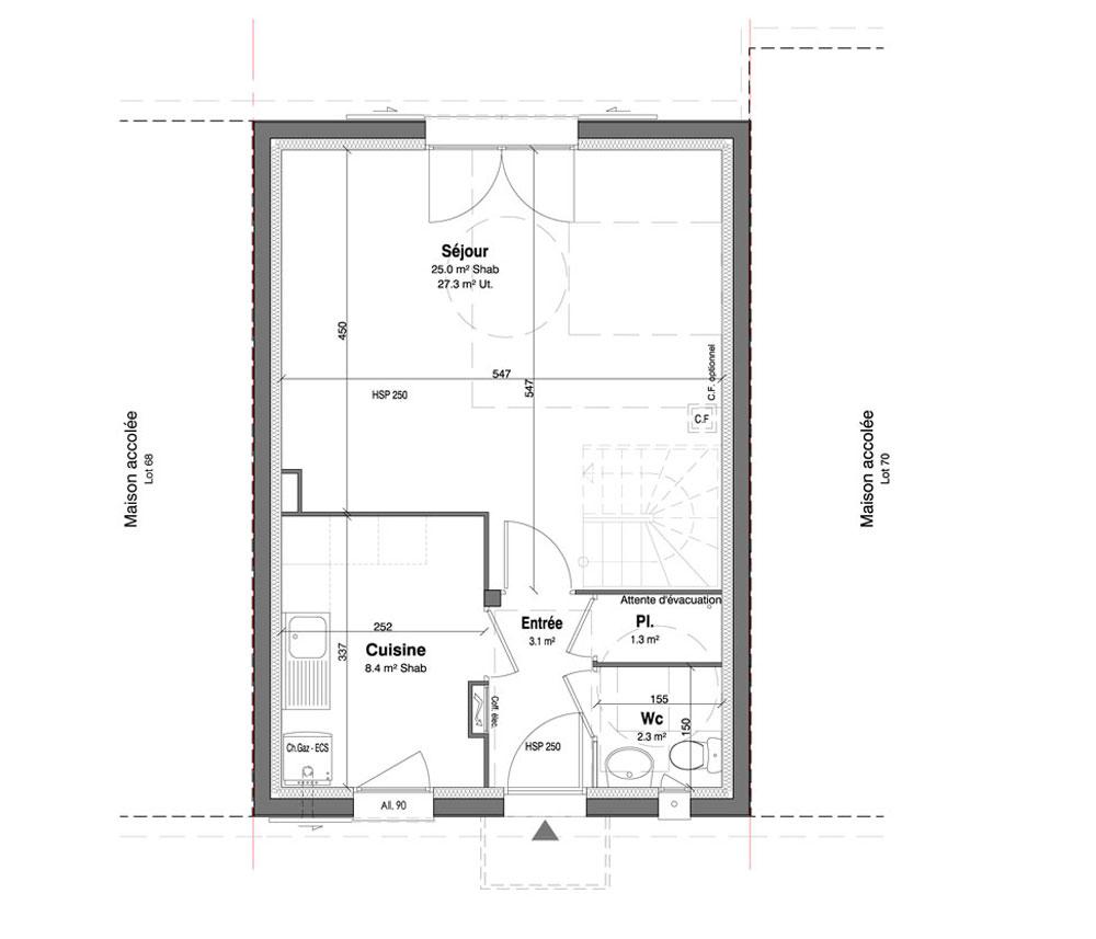 Maison n 69 les jardins des impressionnistes t4 de for T meubles mery sur oise