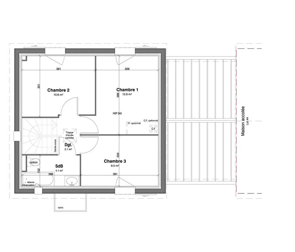 Maison n 45 les jardins des impressionnistes t4 de for T meubles mery sur oise