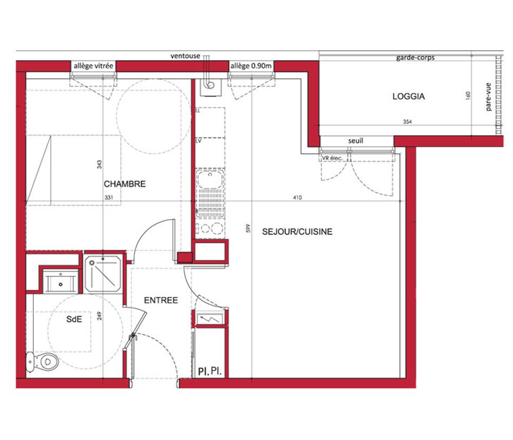 Appartement n 3106 les sittelles t2 de m bouaye for Appartement t2