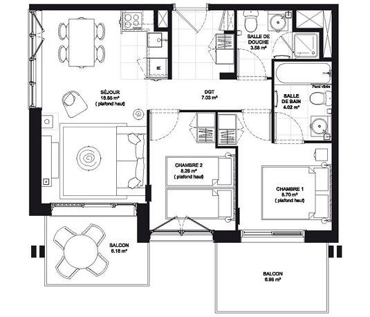 appartement n 401 edenarc 1800 hotel t3 de m bourg saint maurice. Black Bedroom Furniture Sets. Home Design Ideas