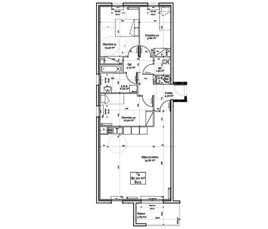 appartement n b111 les hauts de vauban t4 de m brest europe. Black Bedroom Furniture Sets. Home Design Ideas