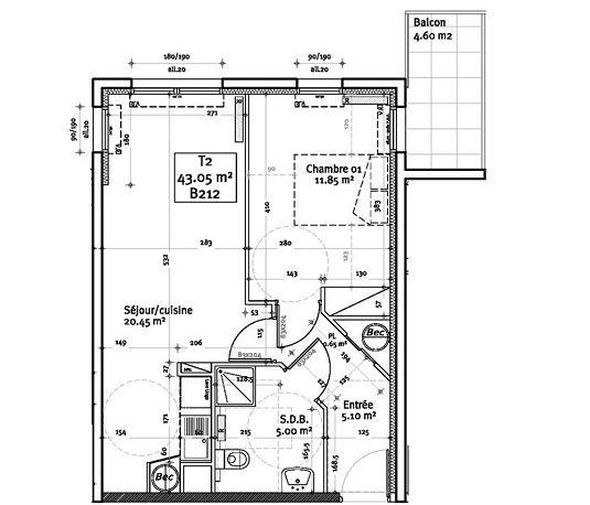 appartement n b212 les hauts de vauban t2 de m brest europe. Black Bedroom Furniture Sets. Home Design Ideas
