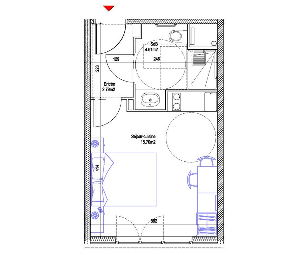 Appartement n 106 mer et golf city bassins flot t1 de for Appartement bordeaux f1