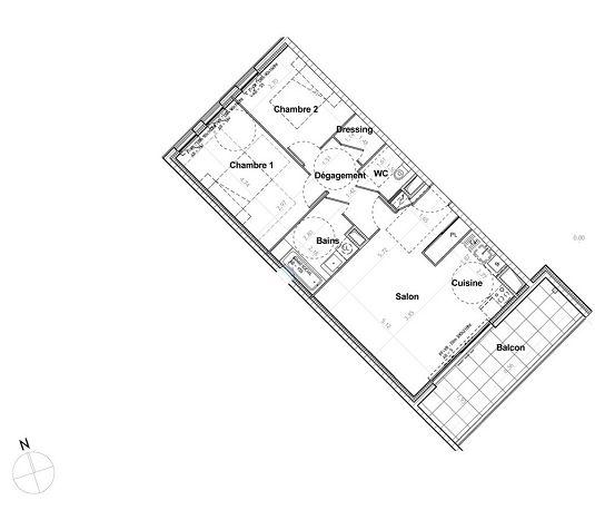appartement n 814 les jardins richelieu tr1 et tr2 t3 de m chamali res. Black Bedroom Furniture Sets. Home Design Ideas