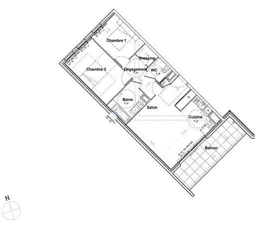 appartement n 844 les jardins richelieu tr1 et tr2 t3 de m chamali res. Black Bedroom Furniture Sets. Home Design Ideas