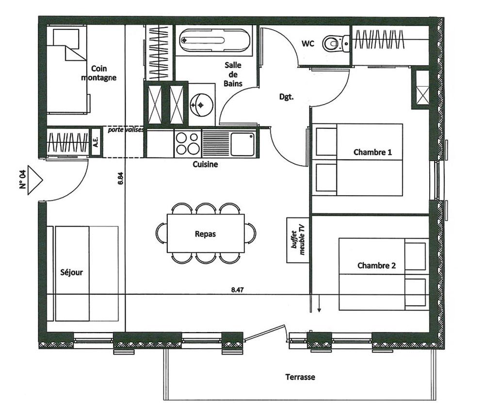 Appartement n d04 le grand lodge t3 de m ch tel for Plan d appartement t3