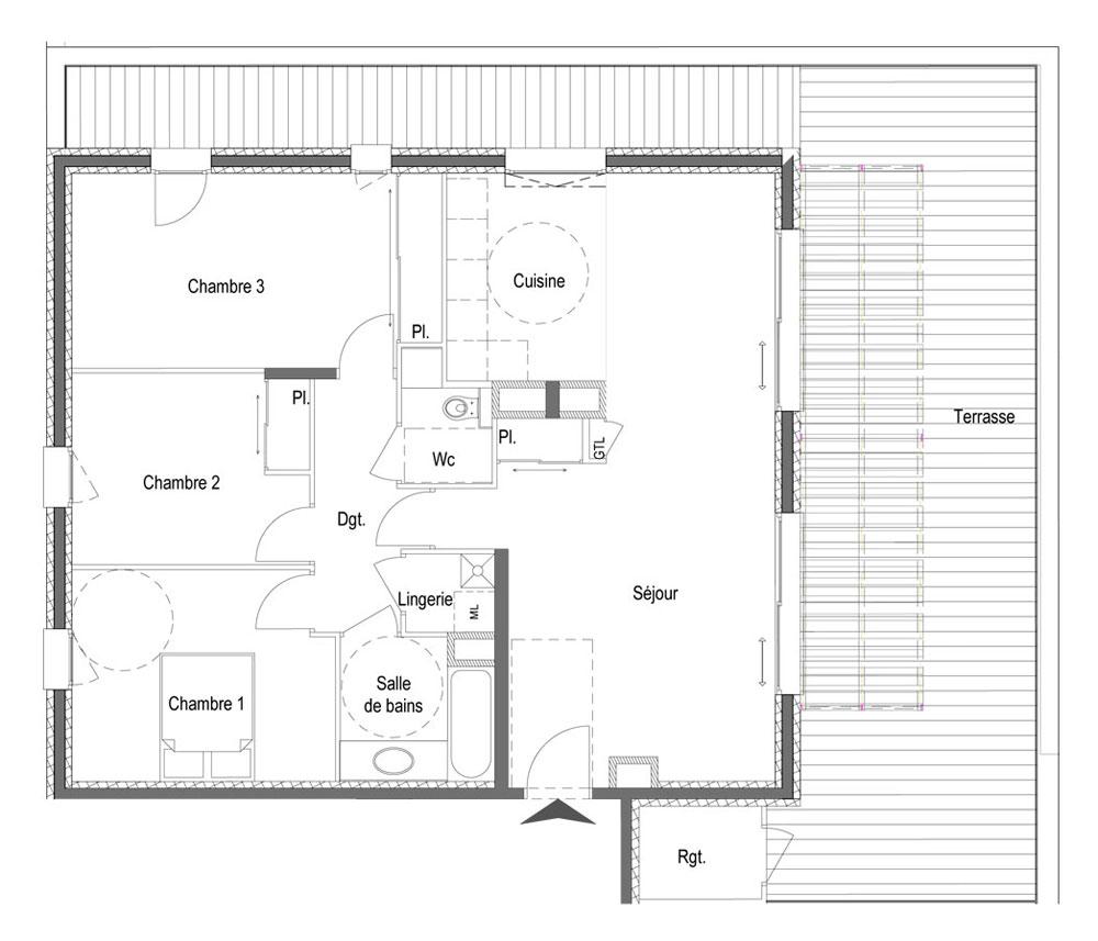 plan d'un appartement t4