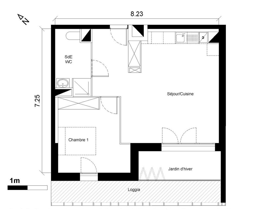 Appartement n a001 trendy chartrons t2 de m for Appartement bordeaux chartrons t2