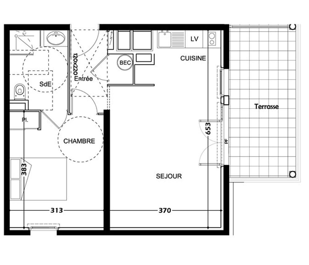 appartement n b403 r sidence montana t2 de m. Black Bedroom Furniture Sets. Home Design Ideas