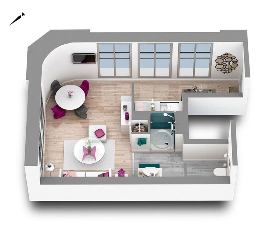 Appartement n 101 art d co t1 de m bayonne for Deco appartement t1