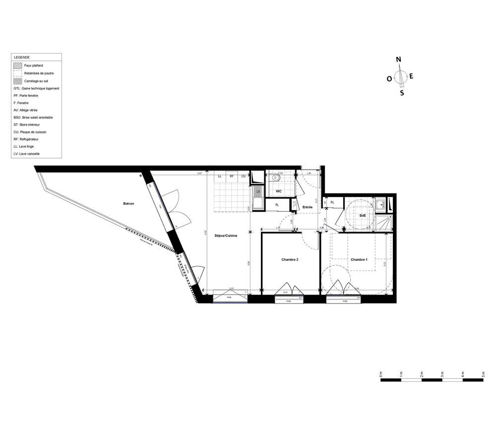 Appartement n a1337 allure t3 de m paris 17 me for Appartement meuble paris 17eme