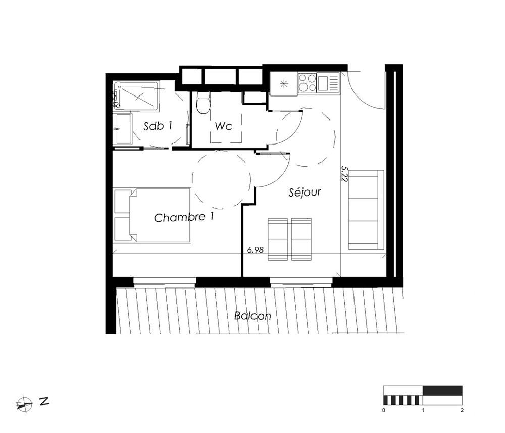 appartement n 105pmr isatis t2 4 couchages de m chamonix mont blanc. Black Bedroom Furniture Sets. Home Design Ideas