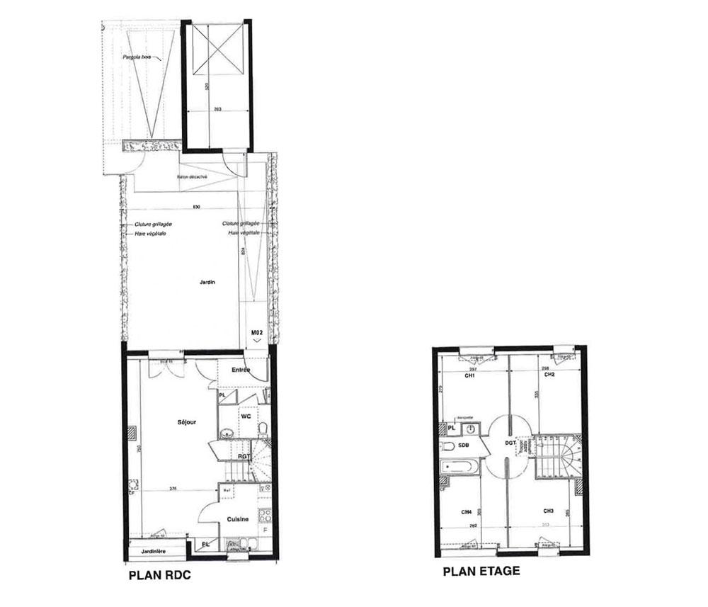 maison n m02 les cottages t5 de m chanteloup en brie. Black Bedroom Furniture Sets. Home Design Ideas