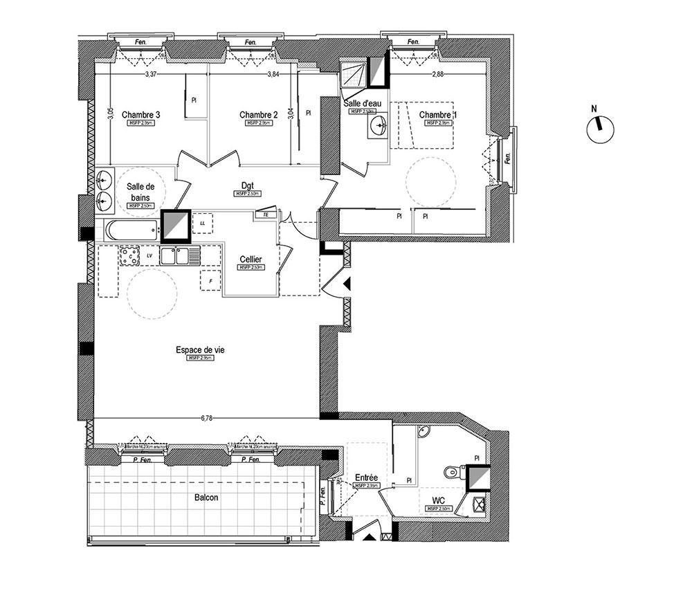 Salle De Bain Petit Espace Plan ~ appartement n c21 les balcons de flore t4 de 114 29 m saint