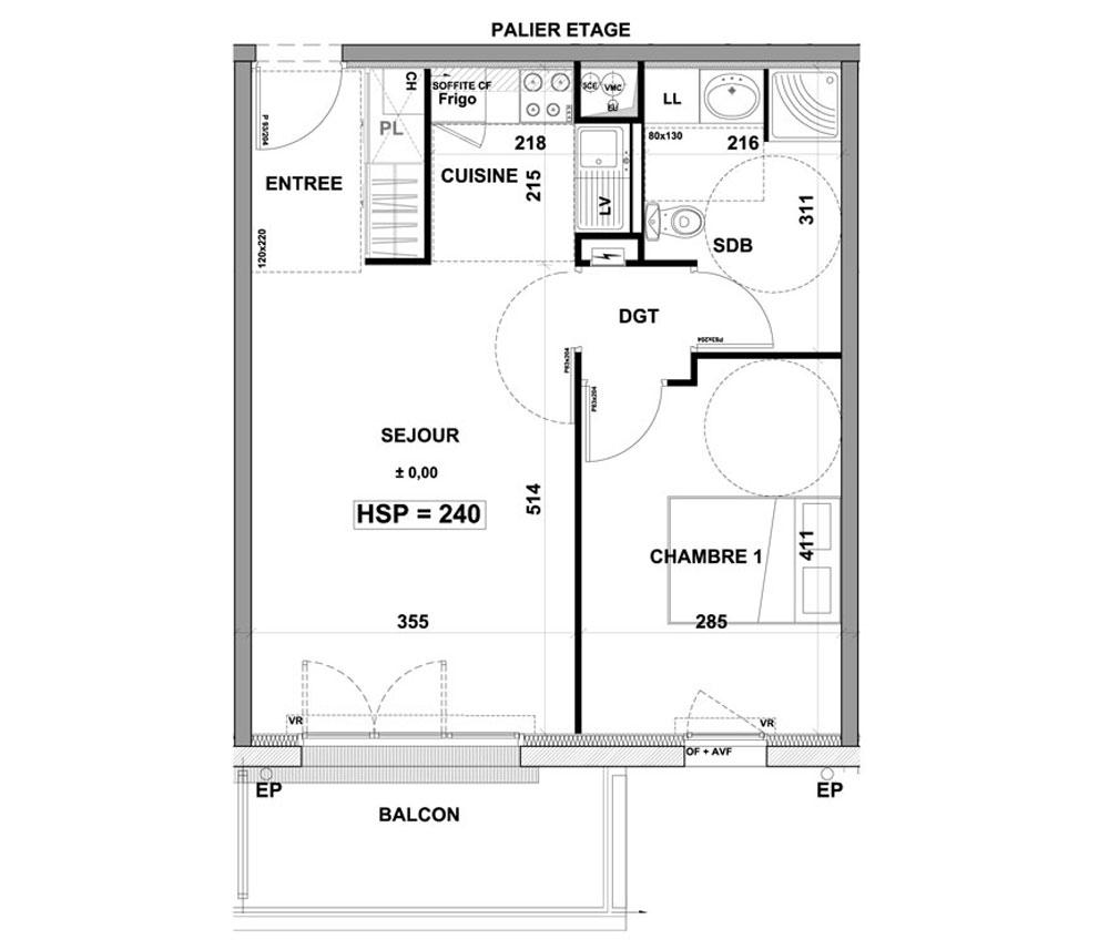 appartement n b103 les terrasses du goueric t2 de. Black Bedroom Furniture Sets. Home Design Ideas