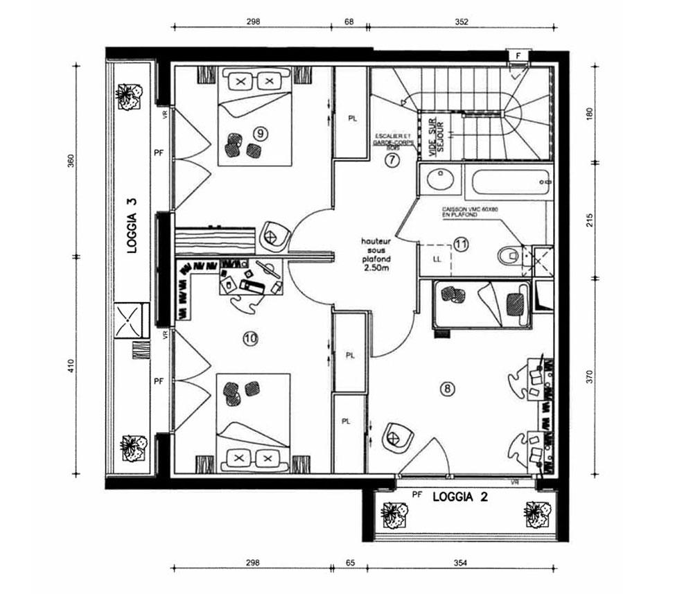 duplex n 2215 le village bacalan t5 de m bordeaux maritime. Black Bedroom Furniture Sets. Home Design Ideas