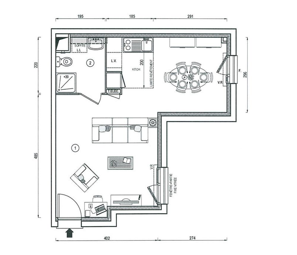 Appartement n 1722 villapollonia t1 de m for Appartement bordeaux f1