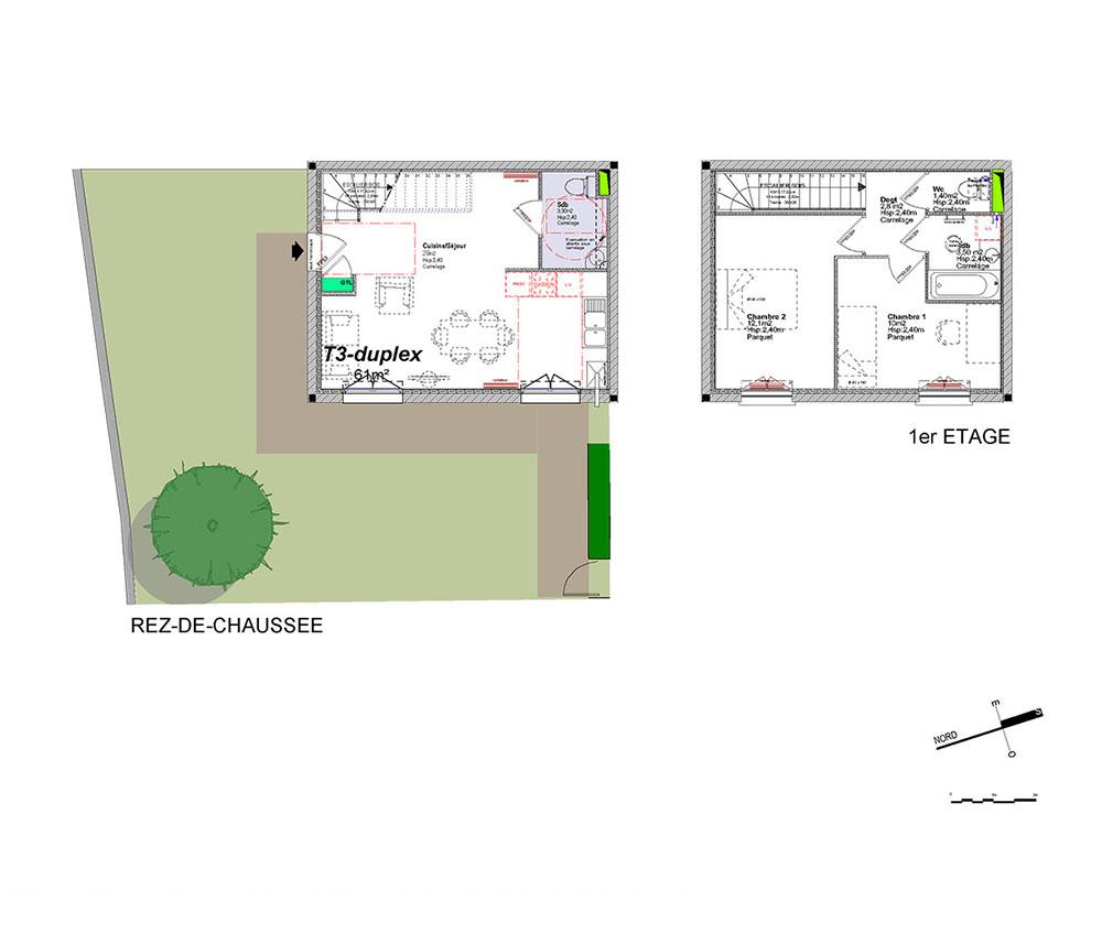 Duplex n a6 chemin des viougues t3 de m salon for Location t3 salon de provence