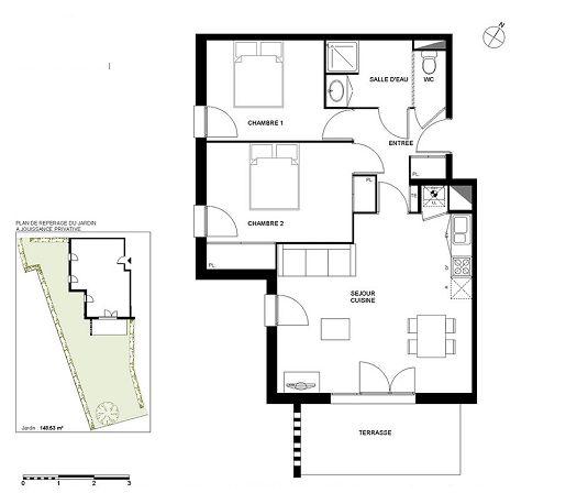 Appartement n c04 les jardins de paul t3 de m - Les jardins de l enclos portet sur garonne ...