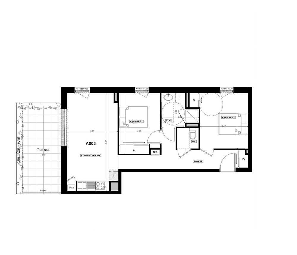 appartement n a003 villa florian t3 de m la. Black Bedroom Furniture Sets. Home Design Ideas