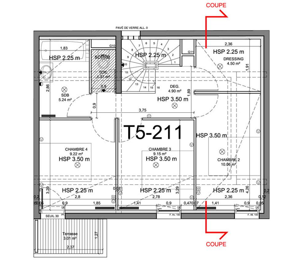 Appartement n 01b211 l intimiste t5 de m for Appartement t5