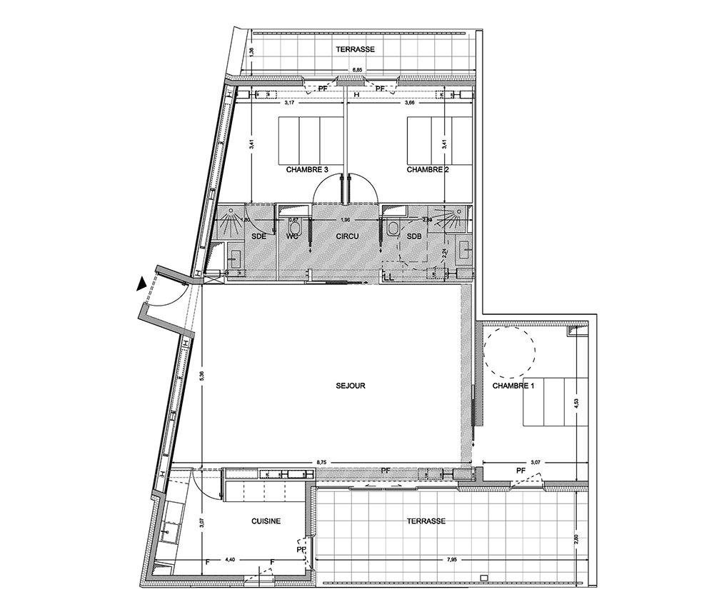 Appartement n 73 belaroia t4 de m montpellier for Prix m2 montpellier