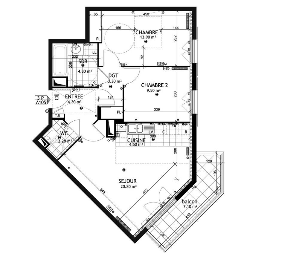 appartement n 01a105 les cottages t3 de m franconville. Black Bedroom Furniture Sets. Home Design Ideas