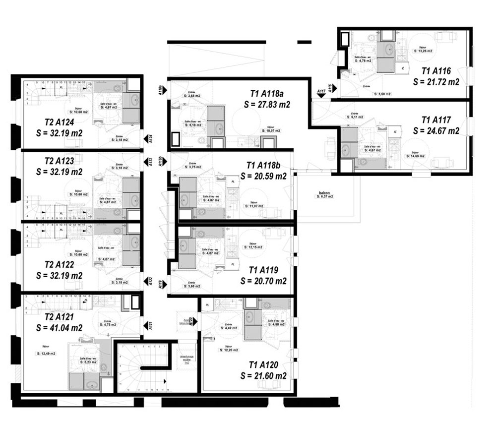 duplex n a123 clair matin t2 de m rennes le centre. Black Bedroom Furniture Sets. Home Design Ideas