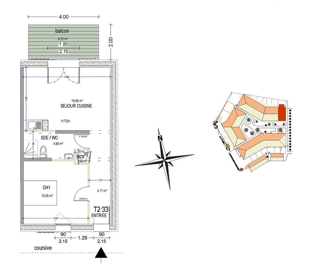 appartement n 33 cap ouest t2 de m dolus d 39 ol ron. Black Bedroom Furniture Sets. Home Design Ideas