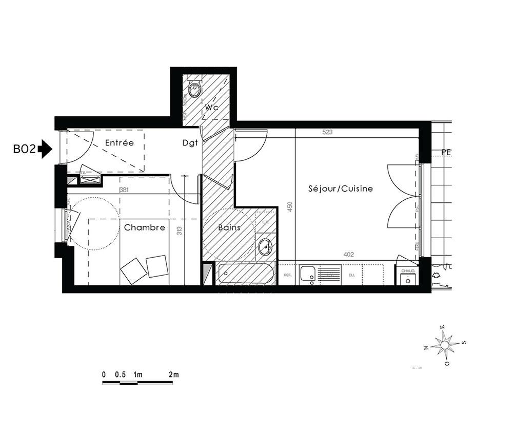 appartement n b02 kanope t2 de m lyon 9 me arrondissement. Black Bedroom Furniture Sets. Home Design Ideas