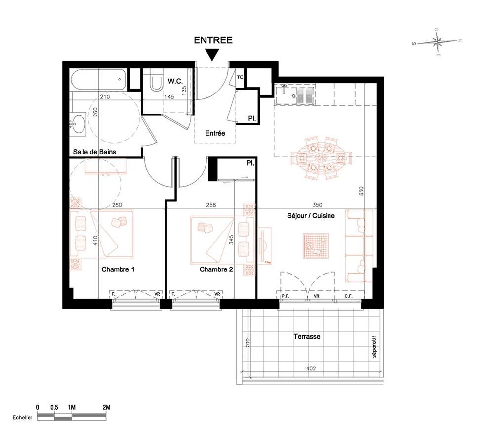 Plan d un appartement t3 t a textphoto a vendre for Plan d un appartement t3