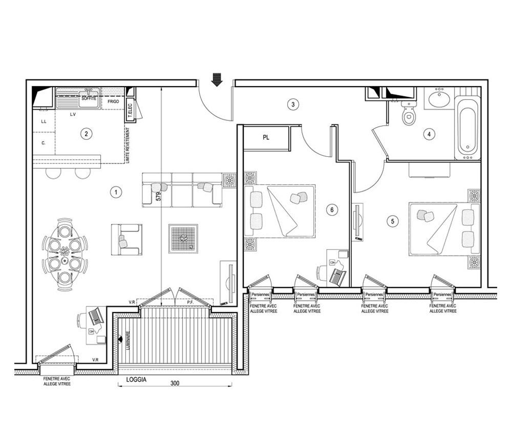 plan appartement carre
